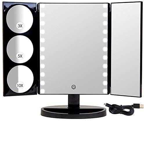 Mirrorvana XL Kosmetikspiegel mit LED Licht - extra groß spiegel mit beleuchtung und vergrößerung ( 10 fach / 5 fach / 3 fach )