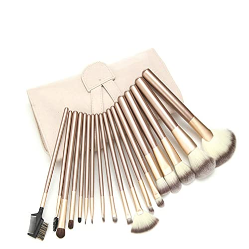 Beige makeup brush set beauty cosmetics mixed eyeshadow lip powder foundation tool with pouch - Yellow