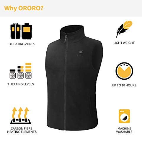 ORORO Men's Fleece Heated Vest with Battery Pack