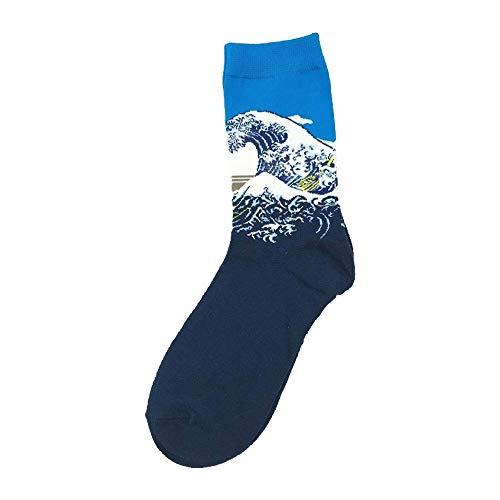 RTESBGH Neuheit Socken,Blau Unten Wellenmuster Neuheit Aus Weicher Baumwolle Retro Abstrakte Ölgemälde Kunst Socken Schreien Moderne Van Gogh Sternennacht Öl Malerei Skateboard Glücklich Socke (3 Ps)
