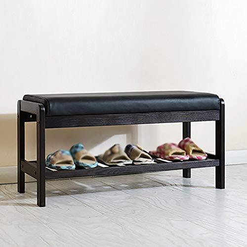 ZXL Schoenenkast massief houten schoenen bankje imitatie lederen opbergkast voor kunstleren schoenen (Maat: S)