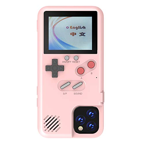 Autbye Gameboy Case for iPhone, Retro 3D Phone Case Game Console with 36 Classic Game, Color Display Shockproof Video Game Phone Case for iPhone (for iPhone 12 Mini, Pink)