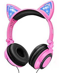 🐱Cute Cat Ear Design with Flashing Light: foldable cat ear headphone pink looks is designed with led glowing light on the two cat ears. Cool LED lights with 2 different LED settings ( All On, All Flashing ) which add a touch of fun and cuteness to yo...