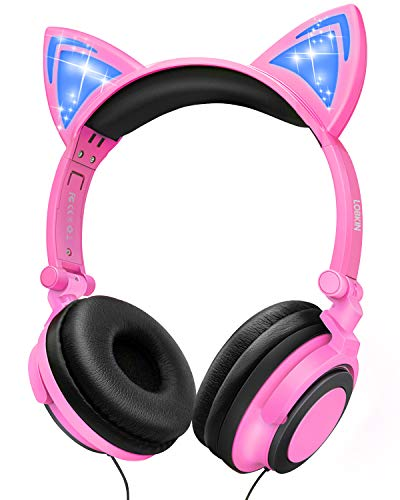 LOBKIN Kids Headphones Over Ear, Light Up Wired Adjustable Headphones On Ear, Cat Ear Headset, 3.5mm Aux Jack, Led Glowing Headphones for Kids Girls Boy School Supplies, Baby Cosplay Fans Toddlers