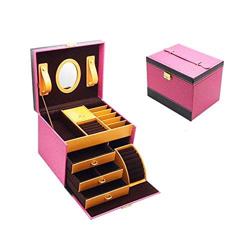 WOZUIMEI Organizador de Caja de Joyería Caja de Joyería Caja de Cosméticos Mini Maleta de 4 Capas para Pendientes Collares Anillos Caja de Joyería AlmacenamientoRosa