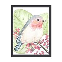 INOV かわいらしく小さいパステル調 鳥 インテリア 壁掛け 額入り ポスター アート アートパネル リビング 玄関 プレゼント モダン アートフレーム おしゃれ 30x40cm