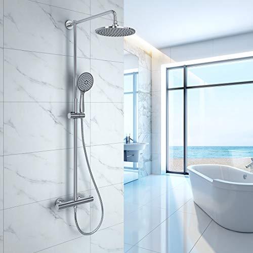 WELMAX Duschsystem mit Thermostat Mischer Duschset Dusche inkl. Handbrause, Regenbrause, Verstellbarer Duschstange Chrom (Rund Ø228mm Type A)