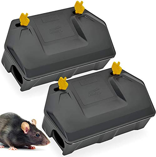 Rat Bait Station 2 Pack - Rodent Bait Station with Key Eliminates Rats Fast. Keeps Children and Pets Safe Indoor Outdoor (2 Pack) (Bait not Included)