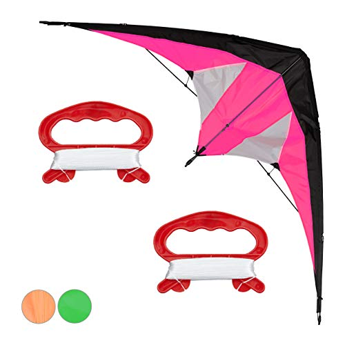 Relaxdays Lenkdrachen, Zweileiner für Kinder und Erwachsene, Drachen für Anfänger, Schnur 30 m, Kite 114x49 cm, pink