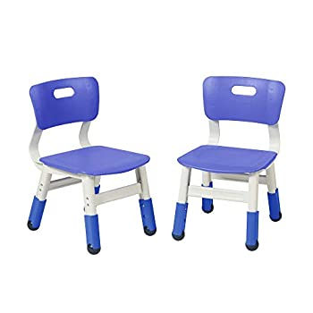 ECR4Kids Resin Adjustable Classroom Chairs Plastic Indoor Kids Seating for Schools Daycares Homes Adjustable Seat Height Cornflower Blue  2-Pack