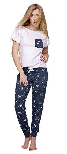 SENSIS stillvoller Baumwoll-Pyjama Schlafanzug Hausanzug aus feinem T-Schirt und bequemer Hose, Made in EU (L (40), rosa/dunkelblau mit Flamingos)