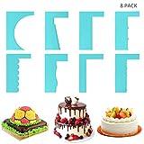 Set Peine para Tartas (8 Piezas) - Raspador Decorar Tartas y Glaseado - Set de Plantillas Alisador Tartas Altas y Pequeñas – Cake Scraper Ideal para Profesionales y Principiantes