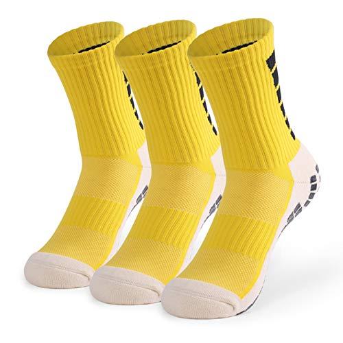 Lixada 1 Par / 3 Pares (Opcional) Calcetines de Fútbol Antideslizantes para Hombres Calcetines Deportivos de Tubo Alto de Fútbol