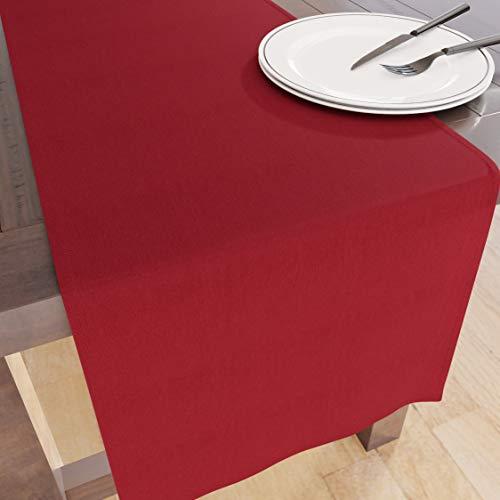 Encasa Homes Tischläufer für 8 Seater Essen - Tiefrot - Groß 40 x 230 cm, 100% Baumwolle Unifarben einfarbig gefärbt Dekorationstuch für Party, Bankett, Restaurant - maschinenwaschbar