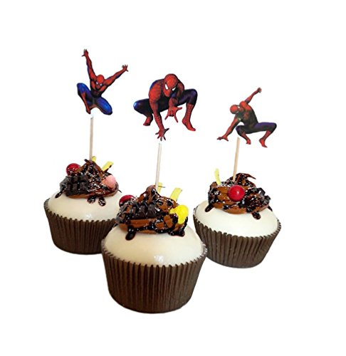 24 PCS Spiderman Birthday Theme Party Decorative Cupcake Topper For Sweet Heart Birthday Party Decoration