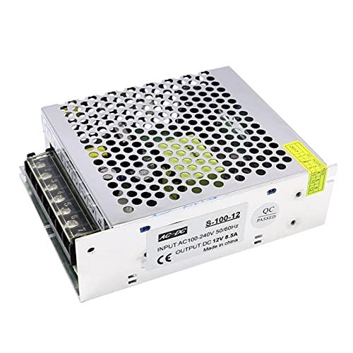 Funien Transformador de Voltage,AC 100-240V a DC 12V 8.5A 100W Transformador de Voltaje Conmutación regulada Fuentes de alimentación Adaptador Convertidor para Tiras Cámara de luz Proyecto de