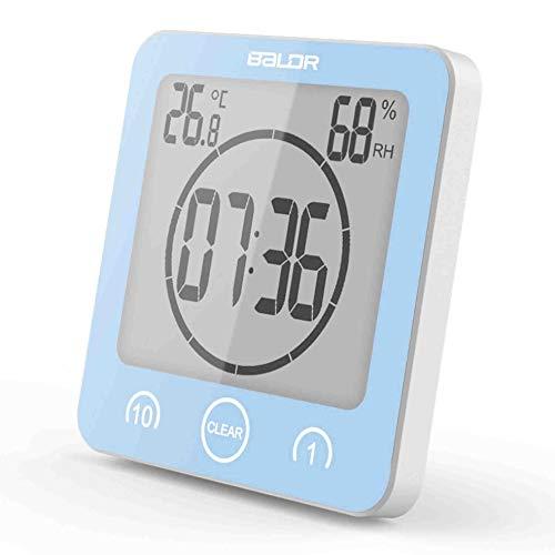 BALDR防水時計 デジタル 温湿度計 防水LCD大画面 シャワー時計 温度 湿度 デジタル 液晶 吸盤 壁掛け 置き時計 お風呂 防水クロック 時間表示 温度計 湿度計 バスルーム時計1年保証シャワー温度湿度計 (ブルー)