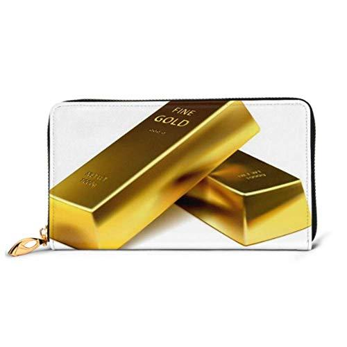 JHGFG Fashion Handtasche Zipper Wallet Zwei Goldbarren auf weißem Hintergrund Telefon Clutch Geldbörse Abendkupplung Blocking Leder Wallet Multi Card Organizer