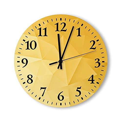 Reloj de pared redondo de 12 pulgadas, rústico, moderno, de madera, reloj de pared con patrón poligonal dorado, para decoración de sala de estar, madera, para cocina, dormitorio, hogar