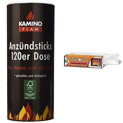 Kamino-Flam 333174 Juego de Pastillas de Encendido, 100 Unidades, Marrón, 28x11.8x11.8 cm + Fuegonet 231168 Tronco Deshollinador, Mezclas, Marrón, 27.7x7.7x7.7 cm