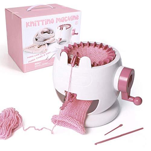Strickmaschine, DIY Kunststoff Smart Webstuhl Kinder, die Spielzeug weben Rotierende Strickmaschine Anfänger Strickmaschine Webmaschine Kit Schal Hut Socke Kunsthandwerk Webstuhl Set(Rosa)