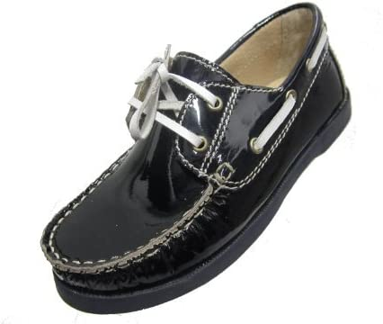 Ralph Migel Kids Dark Blue Patent Leather Boat Shoes