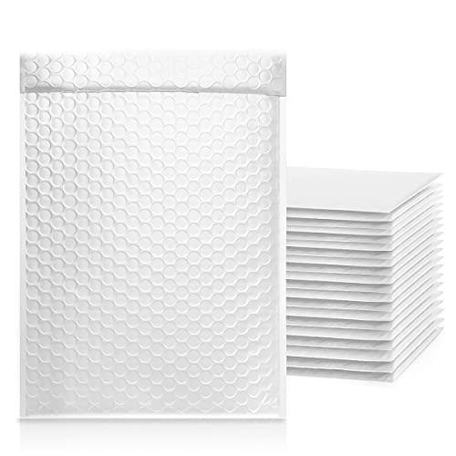 50 sobres acolchados con burbujas de aire, color blanco, 18 x 27 cm