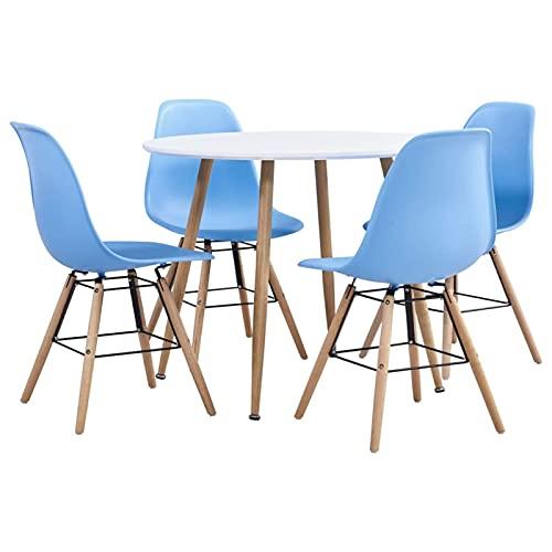 Set Tavolo da Pranzo e sedie 5 Pezzi Set da Pranzo Tavolo Rotondo Sedie 4 Pezzi con Gambe in Legno per Cucina/Bar/Ufficio Ristorante Lounge plastica Blu