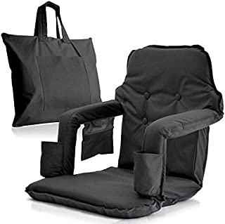 Extra Wide Foldable Stadium Chair for Bleachers - New & Improved 2019 Patent Pending Deluxe Model + Free Carry Bag– Water Resistant + Thick Padding +2 Drink Holders +Zipped Pocket (Black, X-Large)