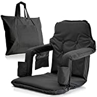 Foldable Stadium Seat for Bleachers – Deluxe Model High Backrest + Free Carry/Storage Bag– Water Resistant + Thick Padding +2 Drink Holders +Zipped Pocket