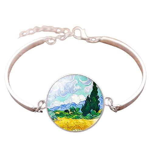 Van Gogh pulsera de metal hombres y mujeres de moda de vidrio convexo redondo cúpula convexa noche estrellada joyería girasol moda regalo