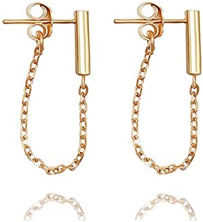 Sterling Silver Drop Bar Earrings with Line Chain- Staple Bar Line Cable Studs for Her – Minimalist Modern Design by Galis