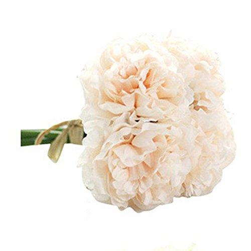 RYcoexs 5 têtes artificielles Fleurs de Pivoine artificielles Bouquet de Mariage mariée décor d'hortensia Champagne