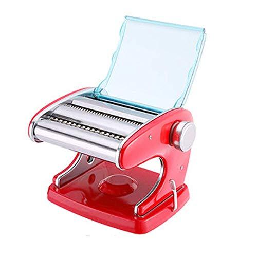 XBR Nudelmaschine Nudelmaschine mit 2 Klingen 6 Dickeneinstellungen Perfekt für frische Spaghetti oder Fettuccini Haushaltsnudelmaschine (Farbe: Rot, Größe: 20X17X15CM)
