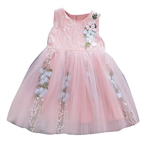 Casual Girls Dress Toddler Bébé sans Manches Couleur Pure Tulle Jupe Pétale Floral Robes Robe De Princesse Robe Tutu 3-24Mois(6-12 Mois,Rose)