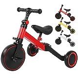 Ejoyous 3 en 1 Vélo Draisienne Tricycle pour Enfant, Enfants équilibrage vélo Enfants Tricycle Marcheur vélo Pliable Enfants vélo d'équilibre pour bébés et Enfants 1-3 Ans(Rouge)