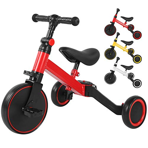 Ejoyous 3 in 1 Kinder Dreirad Laufräder Laufrad, Kinder Balancing Bicycle Kinderdreirad Lauflernrad faltbar Kinderlaufrad für Baby und Kinder 1-3 Jahre Alt Tragfähigkeit 25kg(red)