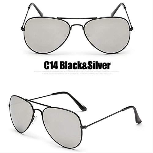 8bayfa Zonnebril Zonnebril Met Spiegel Pilot Voor Vrouwen/man Zonnebril Voor Vrouwen Vintage Om Buiten C14 Zwart Zilver