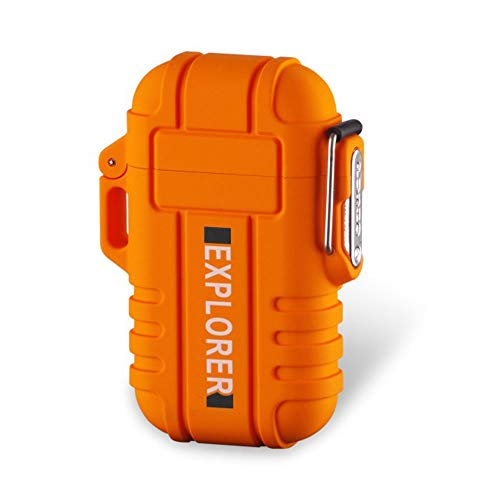 Dual Arc Plasma Electric Rechargeable Flameless Lighter Waterproof Windproof for Camping, Hiking, Skiing, Outdoor Adventure (Orange)