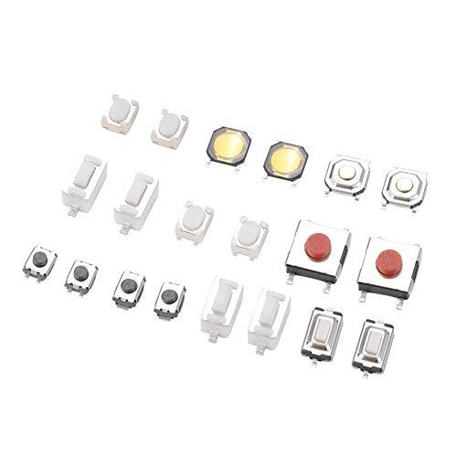 Akozon 250pcs 10 tipos de Botón pulsador táctil con interruptor de micro interruptor momentáneo para mando a distancia de coche