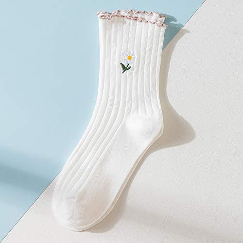 XKMY Calcetines cómodos transpirables de girasol con volantes lindos calcetines kawaii harajuku mujer coreano estilo japonés calcetines para mujer (color: blanco)