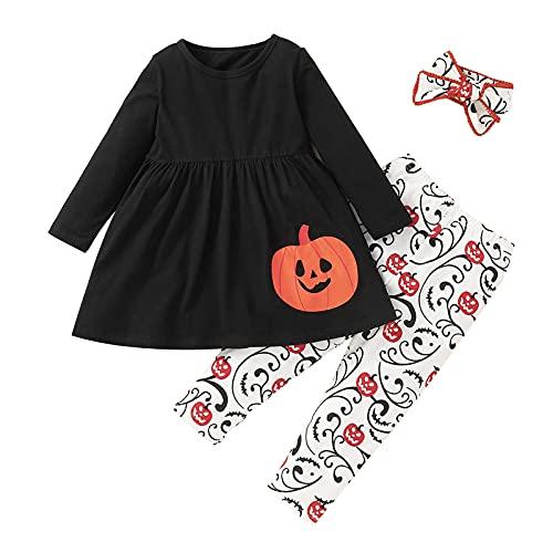 Mädchen Langarm Kleid T-Shirt und Hosenanzug Baby Halloween Druck Zweiteiliger Anzug Kinder Süß lässig Urlaub Verkleiden