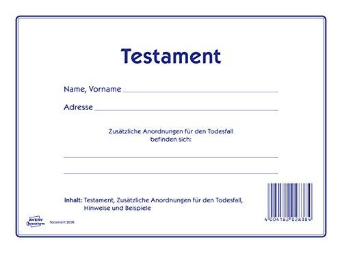 AVERY Zweckform 2838 Testament Vordruck-Set (220x163mm, 1 Testament und zusätzliche Anordnungen für den Todesfall, viele Hinweise und leicht verständliche Beispiele, von Rechtsexperten geprüft)