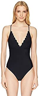 La Blanca Women's Petal Pusher Solid Halter One Piece Swimsuit Black 12 [並行輸入品]