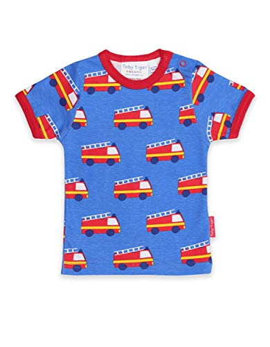 Toby Tiger SS20 T-shirt à manches courtes Motif camion de pompiers - Bleu - Medium