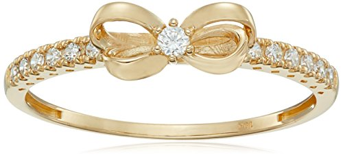 Amazon Collection 10K Gold Dainty Bow Ring set with Round Cut Swarovski Zirconia (.216 cttw), Size 8