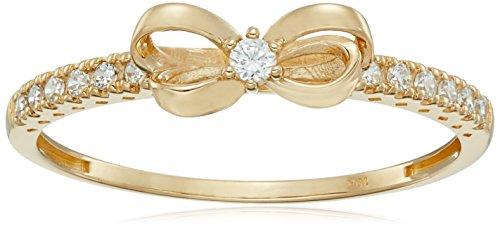10K Gold Dainty Bow Ring set with Round Cut Swarovski Zirconia (.216 cttw), Size 9