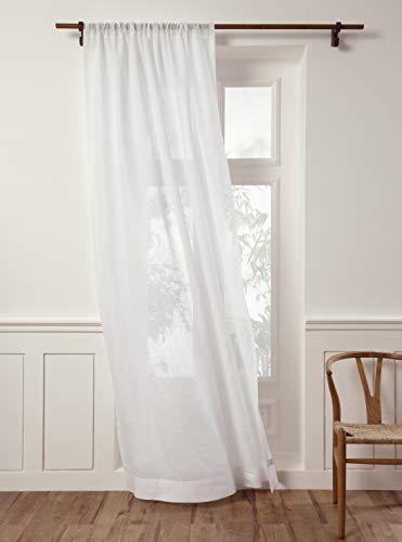 Solino Home 100% Pure Linen Sheer Curtain – 52 x 84 Inch White Rod Pocket Window Panel – Handcrafted from European Flax