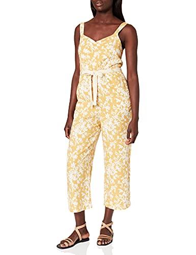 Springfield Mono Lino Print Pantalones, Amarillo/Off White, 40 para Mujer