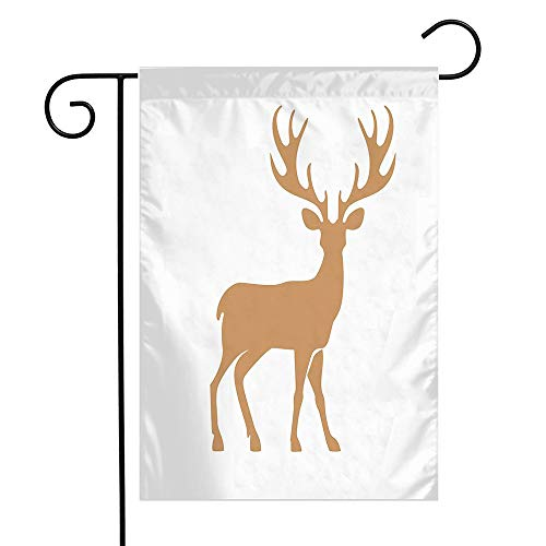 Beigehome Welcome Garden Flag Vintage Norway Silhouette Deer Great Animal Tattoo Graphic Animals Zoo Wildlife Nature Reindeer Seasonal Garden Flags for Patio Lawn Outdoor Home Decor Gift 12 X 18 Inch